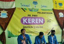 Syamsuddin saat memberikan sambutan dalam Pelantikan Pengurus Rayon (PR) PMII Keren Lamongan,