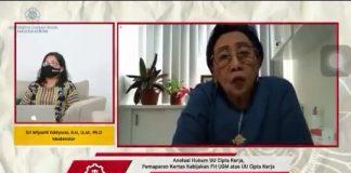 cuplikan video Prof. Maria SW Sumardjono dalam acara Pemaparan Kertas Kebijakan FH UGM atas UU Cipta Kerja