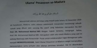 Ulama Pesantren Se-Madura Layangkan Surat Pernyataan Sikap, Atas Kejadian Penggerebekan Rumah Kediaman Ibu Menkopolhukam